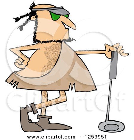 Clipart Of A Caveman Golfer With A Club Royalty Free Vector Illustration