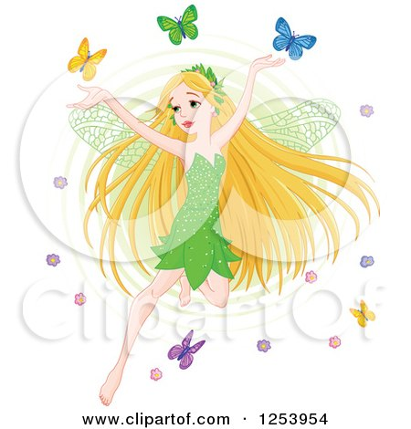 Clipart of a Blond Spring Time Fairy Flying with Colorful Butterflies - Royalty Free Vector Illustration by Pushkin