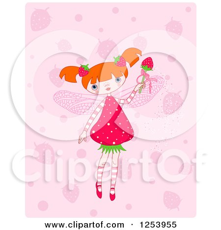 Clipart of a Strawberry Fairy Girl over Pink - Royalty Free Vector Illustration by Pushkin