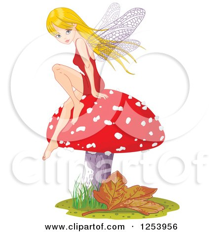 Clipart of a Blond Female Fairy Sitting on a Fly Agaric Mushroom - Royalty Free Vector Illustration by Pushkin