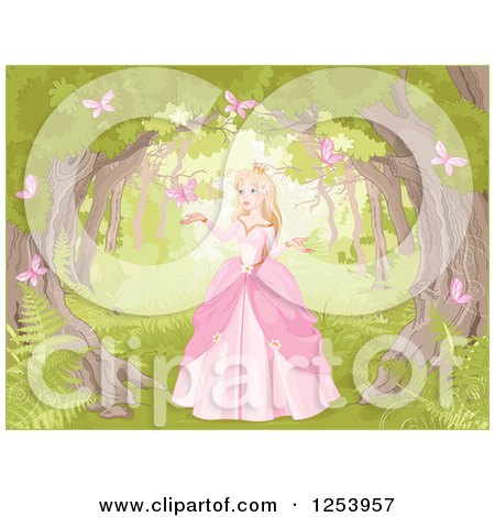 Clipart of a Blond Princess in the Woods with Pink Butterflies - Royalty Free Vector Illustration by Pushkin