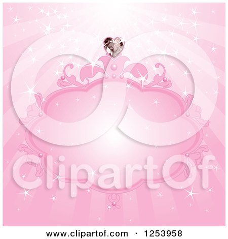 Clipart Of A Pink Princess Frame With A Heart Diamond And Rays Royalty Free Vector Illustration