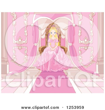 Clipart Of A Blond Princess Sitting At A Pink Throne Royalty Free Vector Illustration