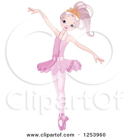 Clipart of a Beautiful Ballerina Dancing in Pink - Royalty Free Vector Illustration by Pushkin