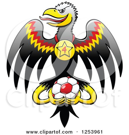 Clipart of a German Eagle with a Medal and Soccer Ball - Royalty Free Vector Illustration by Zooco