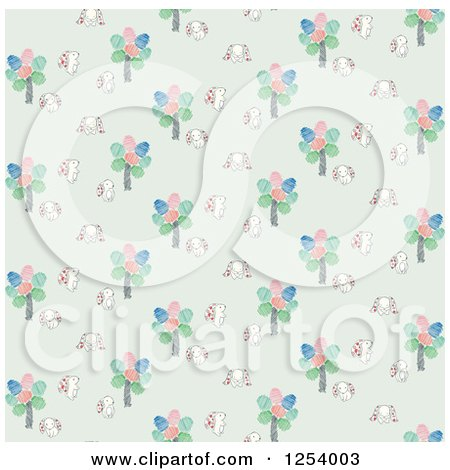 Clipart of a Seamless Background Pattern of Easter Bunny Rabbits and Trees - Royalty Free Vector Illustration by Cherie Reve