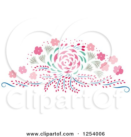 Clipart of a Pink and Green Spring Flower Design Element - Royalty Free Vector Illustration by Cherie Reve