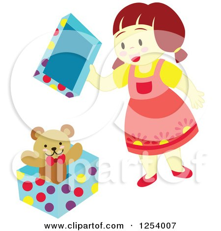 Clipart of a Brunette Girl Opening a Teddy Bear Gift - Royalty Free Vector Illustration by Cherie Reve