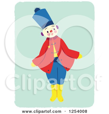 Clipart of a Happy Patriot Soldier on Green - Royalty Free Vector Illustration by Cherie Reve