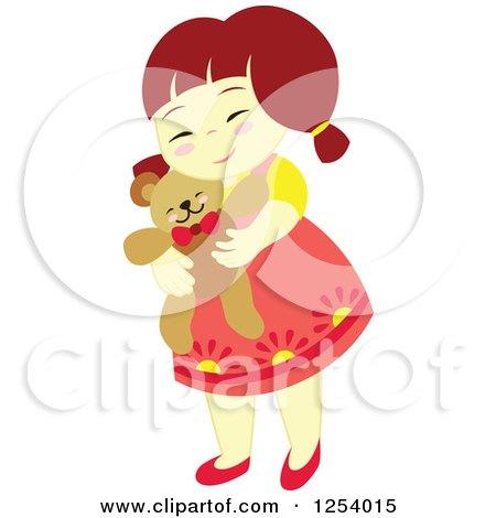 Clipart of a Brunette Girl Hugging a Teddy Bear - Royalty Free Vector Illustration by Cherie Reve
