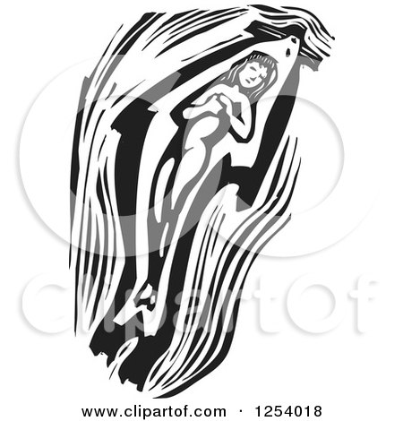 Clipart of a Black and White Woodcut Mythical Selkie Woman Swimming Inside a Seal Skin - Royalty Free Vector Illustration by xunantunich