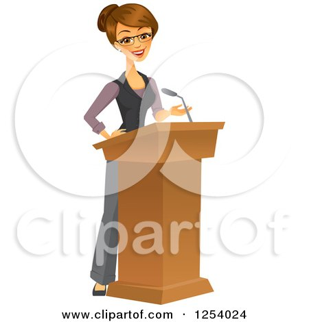 Clipart of a Brunette Caucasian Businesswoman Giving a Speech at a Podium - Royalty Free Vector Illustration by Amanda Kate