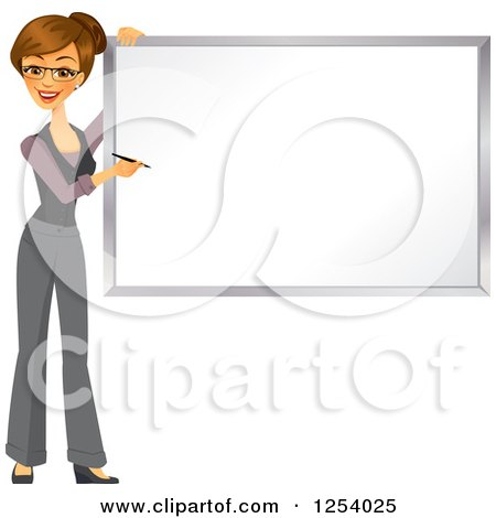 Clipart of a Brunette Caucasian Businesswoman Writing on a White Board - Royalty Free Vector Illustration by Amanda Kate