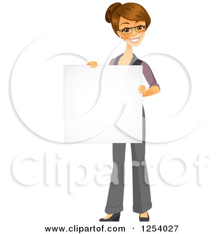 Clipart of a Brunette Caucasian Businesswoman Holding a Blank Sign - Royalty Free Vector Illustration by Amanda Kate
