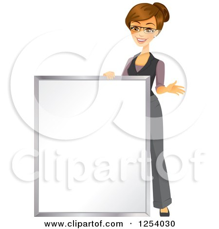 Clipart of a Brunette Caucasian Businesswoman Standing by a Blank Sign - Royalty Free Vector Illustration by Amanda Kate