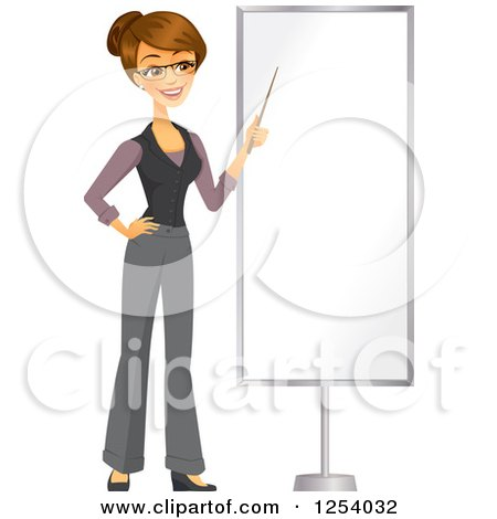 Clipart of a Brunette Caucasian Businesswoman Pointing to a Blank Display - Royalty Free Vector Illustration by Amanda Kate