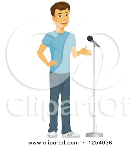 Clipart of a Casual Brunette Caucasian Man Talking in to a Microphone - Royalty Free Vector Illustration by Amanda Kate