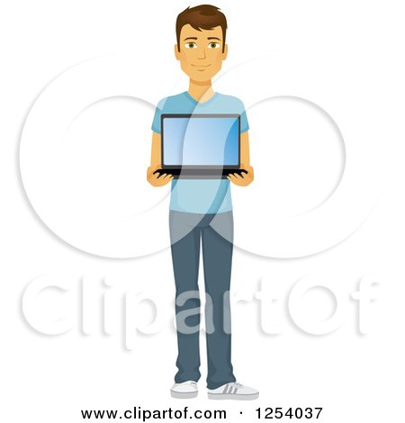 Clipart of a Casual Brunette Caucasian Man Holding a Laptop - Royalty Free Vector Illustration by Amanda Kate