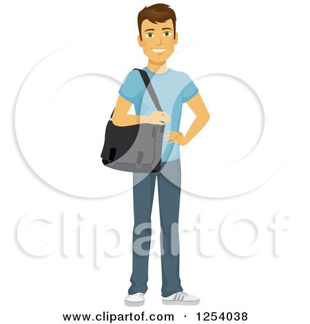 Clipart of a Casual Brunette Caucasian Man Carrying a Laptop Bag - Royalty Free Vector Illustration by Character Market