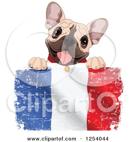 Clipart of a Cute French Bulldog Panting over a Distressed British Flag - Royalty Free Vector Illustration by Pushkin