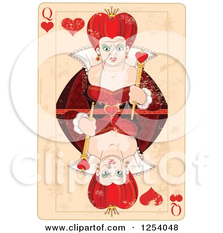 Clipart of a Distressed Queen of Hearts Playing Card - Royalty Free Vector Illustration by Pushkin