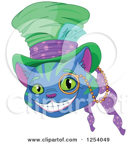 Clipart of a Grinning Blue and Green Cheshire Cat Wearing a Hat - Royalty Free Vector Illustration by Pushkin