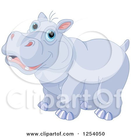 Clipart of a Cute Happy Blue Eyed Hippopotamus - Royalty Free Vector Illustration by Pushkin