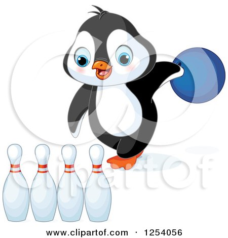 Clipart of a Cute Penguin Bowling - Royalty Free Vector Illustration by Pushkin
