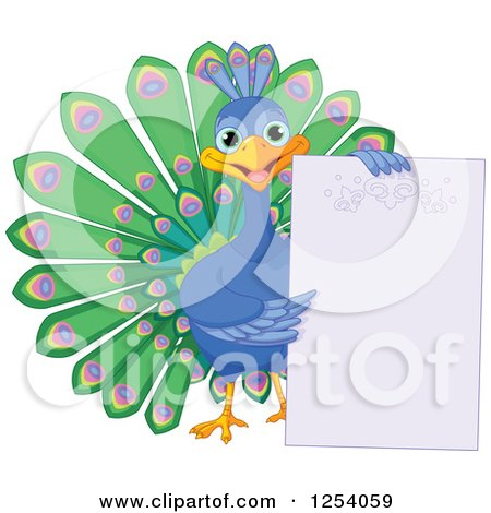 Clipart of a Cute Happy Peacock Holding a Blank Sign - Royalty Free Vector Illustration by Pushkin