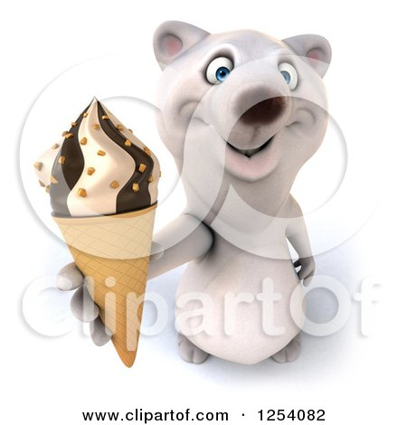 Clipart of a 3d Polar Bear Holding up an Ice Cream Cone - Royalty Free Illustration by Julos