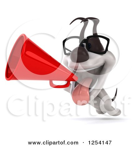 Clipart of a 3d Bespectacled Jack Russell Terrier Dog Announcing with a Megaphone - Royalty Free Illustration by Julos