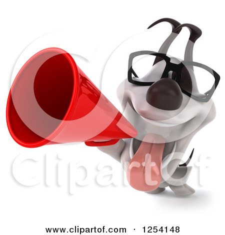 Clipart of a 3d Bespectacled Jack Russell Terrier Dog Announcing with a Megaphone 2 - Royalty Free Illustration by Julos