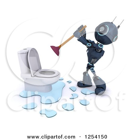 Clipart of a 3d Blue Android Robot Plunging a Toilet - Royalty Free Illustration by KJ Pargeter