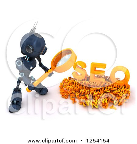 Clipart of a 3d Blue Android Robot Searching over SEO - Royalty Free Illustration by KJ Pargeter