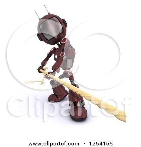 Clipart of a 3d Red Android Robot Pulilng a Rope - Royalty Free Illustration by KJ Pargeter