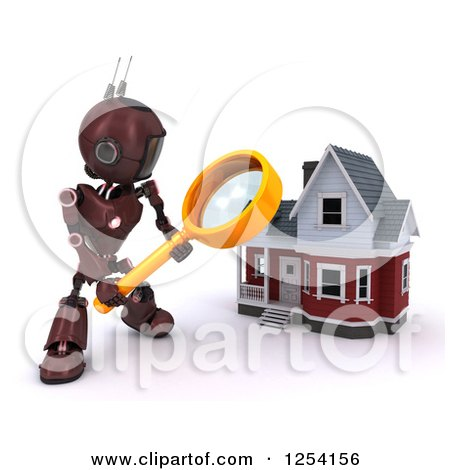 Clipart of a 3d Red Android Robot Using a Magnifying Glass to Search a Home - Royalty Free Illustration by KJ Pargeter