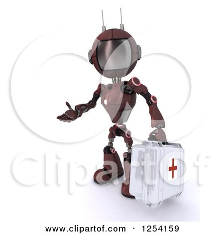 Clipart of a 3d Red Android Robot Paramedic Carrying a First Aid Kit - Royalty Free Illustration by KJ Pargeter