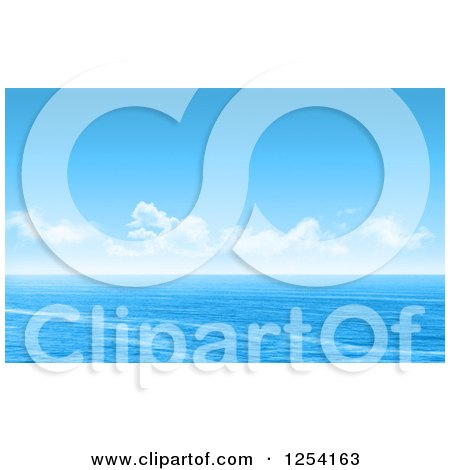 Clipart of a Blue Ocean Seascape with Clouds - Royalty Free Illustration by KJ Pargeter