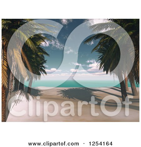 Clipart of a 3d Tropical Beach with Palm Trees - Royalty Free Illustration by KJ Pargeter