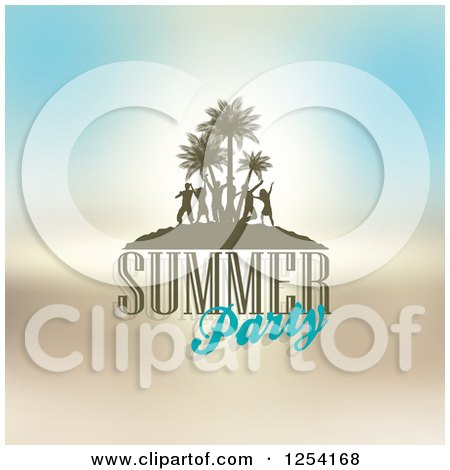 Clipart of a Tropical Island with Silhouetted Dancers and Summer Party Text - Royalty Free Vector Illustration by KJ Pargeter