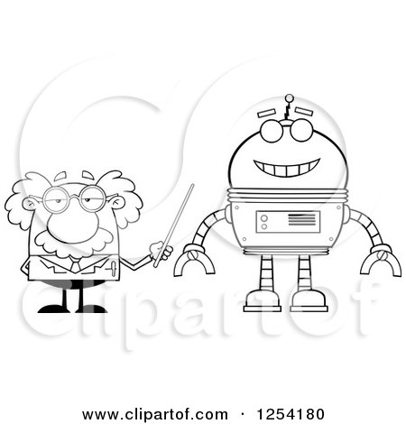 Clipart of a Black and White Senior Male Scientist Discussing a Robot - Royalty Free Vector Illustration by Hit Toon