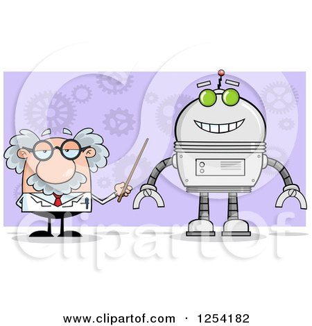 Clipart of a Senior Male Scientist Discussing a Robot over Gears on Purple - Royalty Free Vector Illustration by Hit Toon