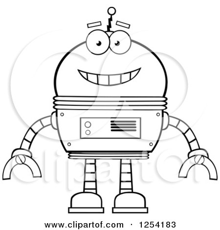 Clipart of a Happy Black and White Robot - Royalty Free Vector Illustration by Hit Toon