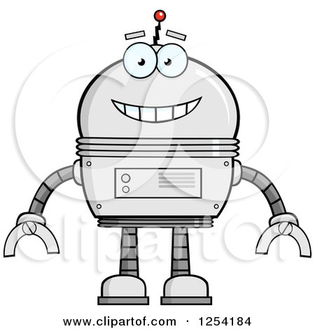 Clipart of a Happy Metal Robot - Royalty Free Vector Illustration by Hit Toon