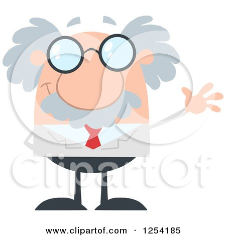 Clipart of a Senior Scientist Waving - Royalty Free Vector Illustration by Hit Toon
