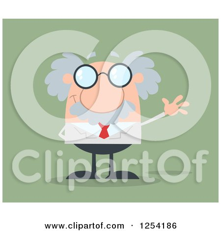 Clipart of a Senior Scientist Waving over Green - Royalty Free Vector Illustration by Hit Toon