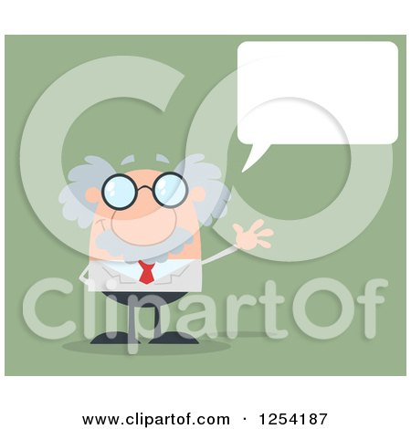 Clipart of a Senior Scientist Waving and Talking over Green - Royalty Free Vector Illustration by Hit Toon