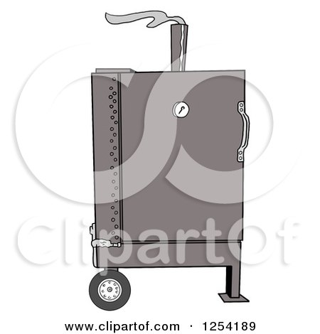 Clipart of a Stumps Smoker Bbq - Royalty Free Vector Illustration by LaffToon