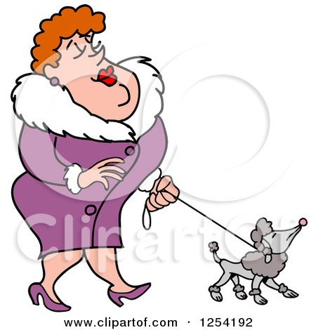 Clipart of a Sophisticated White Woman Walking a Poodle - Royalty Free Vector Illustration by LaffToon