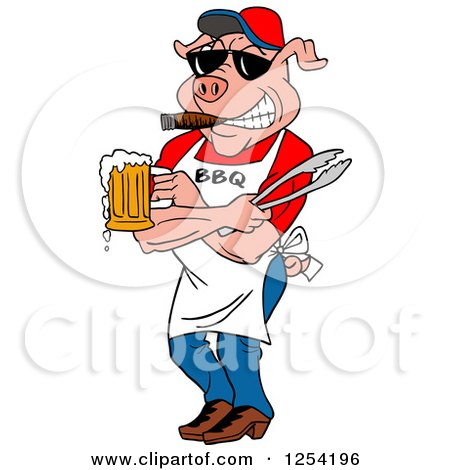 Clipart of a Bbq Pig Chef Holding Tongs, Wearing Sunglasses, Smoking a Cigar and Holding a Beer - Royalty Free Vector Illustration by LaffToon
